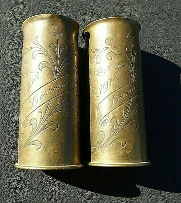 Ww1 Aif Australian Small Pair Of Trench Art Engraved Shell Cases Lorraine 1918