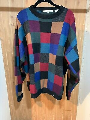 Perry Ellis Vintage 80'S- Mens Cotton Sweater-Multi Color Size L -Euc