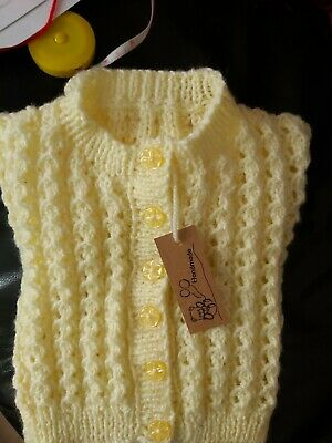 Brand new hand knitted baby cardigans 0-3 months in pale yellow