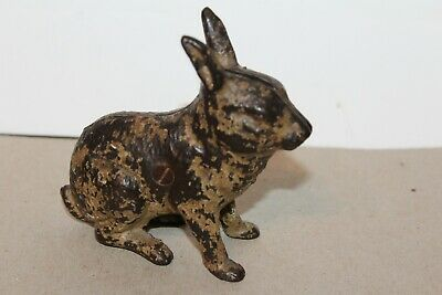 VINTAGE EARLY 1900's ARCADE CAST IRON SEATED RABBIT  BANK