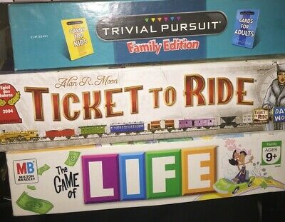 Lot of 3 Board Games Ticket to Ride Trivial Pursuit Family Edition Game of Life