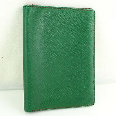 Auth HERMES AGENDA GM Notebook Day Planner Cover Leather Green Red