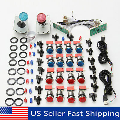 2 Player Arcade DIY Kit Game USB Controller Joystick LED Lighted Push   US!