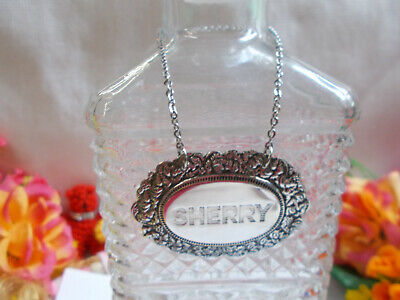 """Sterling Silver Decanter Label """" Sherry """" Stainless Oval Chain - Stokes Aust # D"""