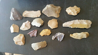15 x aboriginal knapped stone tools scraper cutters knives spear tips