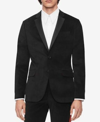 Calvin Klein Men's Slim Fit Black Velvet Sport Coat Jacket Blazer Size M