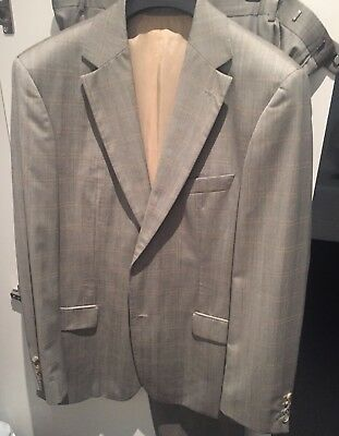 Hugo Boss Men's Suit SZ 100 Grey Pants Jacket Single Breasted