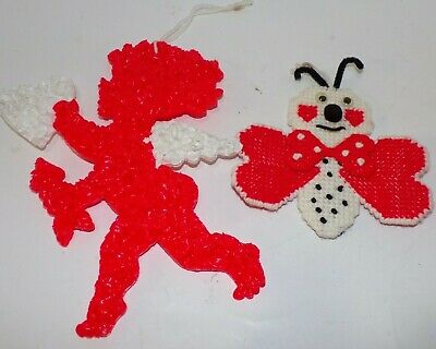 Lot of 2 Vintage Valentines Wall Hanging Melted Plastic Popcorn Cupid Love Bug