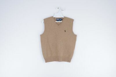 Vintage Polo Ralph Lauren Mens XS Casual Lambswool V-Neck Sweater Light Brown