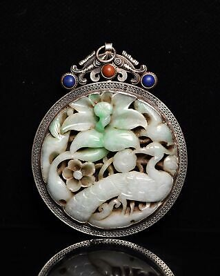 Chinese Exquisite Hand carved phoenix Carving silver mosaic jadeite jade Pendant