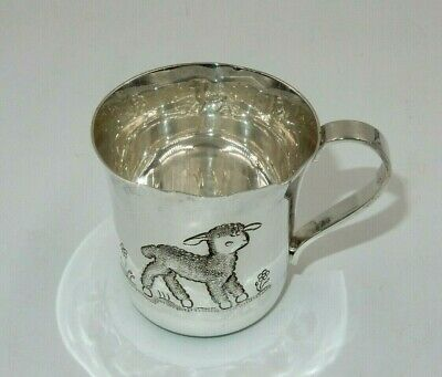 Tiffany & Co. Hand Chased Sterling Silver 925 Lamb & Flower Baby Cup