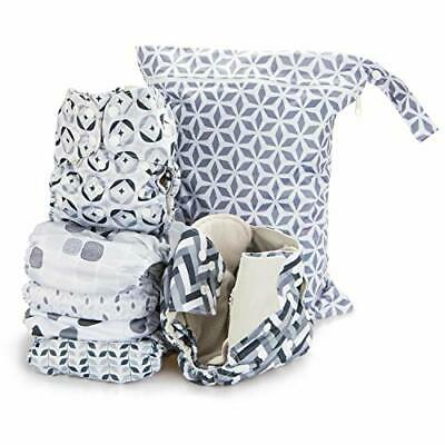 Simple Being Reusable Cloth Diapers- Double Gusset-6 Pack Pocket (Retro)