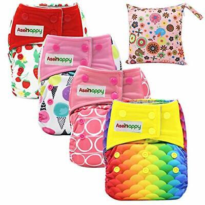 Asenappy All in One Cloth Diaper Reusable AIO Sewn Inserts with (New Print)
