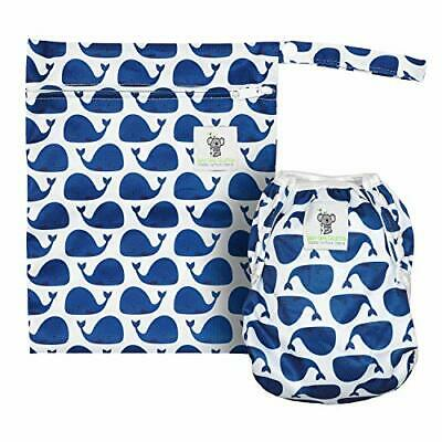 Swimming Diapers - Stylish Reusable Swim Diaper & Wet Bag Set (Blue Whale)