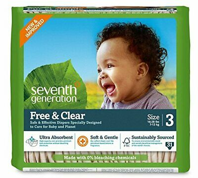 Seventh Generation Free & Clear, Unbleached Diapers, Size 3, 62 Count,