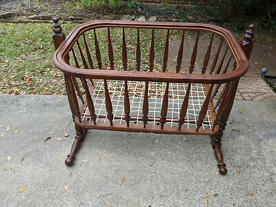 Baby Cradle, Hand made, and turned by Leonard Payne in 1955 hardwood
