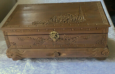 Large Vintage Carved Wood Oriental Asian Japanese Chinese Jewelry Box