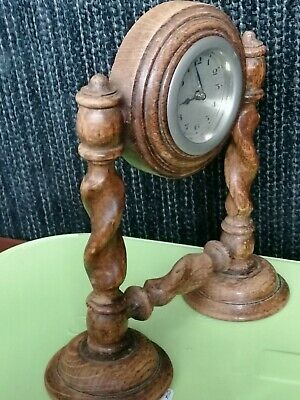 Antique Vintage Mechanical Mantle Desk Clock oak barley twist frame 1920s