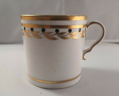 Lovely Hand Painted Antique Spode Coffee Can Hp Black & Gold Leaf & Berry Border
