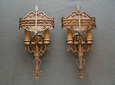Antique pair of Art Deco sconces with Mica shades