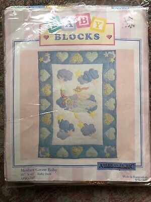 NEW BABY QUILT MOTHER GOOSE 35x48 Cotton Blue Pink Yellow