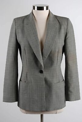 Pendleton Gray Pleated Virgin Wool Houndstooth Plaid One-Button Blazer Size 6