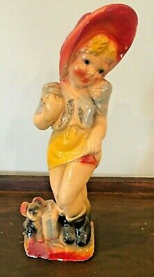 Vintage CARNIVAL CHALKWARE Girl w Bonnet and Puppy Dog Circus Midway Prize OLD!