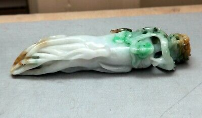 Vintage Natural Green and White Jade Jadeite carved Ginseng With Dragon