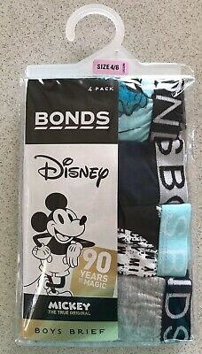 Bonds Disney Mickey Boys Briefs/Underpants, 4 Pack, Size 4-6, New, Rrp$17.95