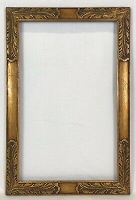 Antique Early 20th C Arts & Crafts Hand Carved Gold Frame 10 x 16 Opening