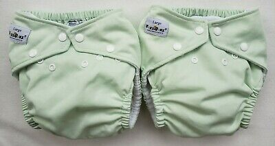 2 FuzziBunz Cloth Pocket Diapers, Snaps, Large, 3 Inserts, Very Good Condition
