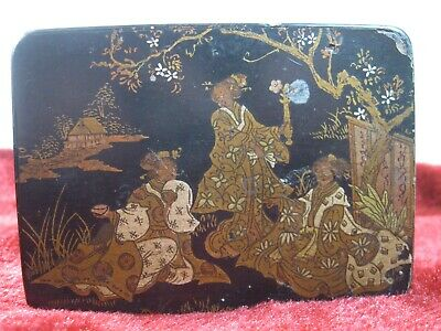 "ANTIQUE CHINESE BLACK WOODEN ""LADIES IN WAITING"" CURIOS BOX w/hinged lid"