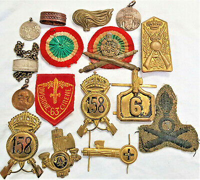 Lot X 16 Ww2 Italian Army & Navy Military Badges, Medals, Pins & Uniform Patches