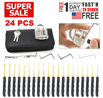 24Pcs Unlocking Lock Pick Set Key Extractor Transparent Practice Padlock Tool