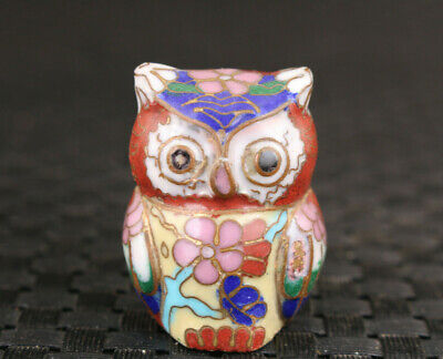 Mini Chinese old cloisonne hand painting owl statue figure collectable gift