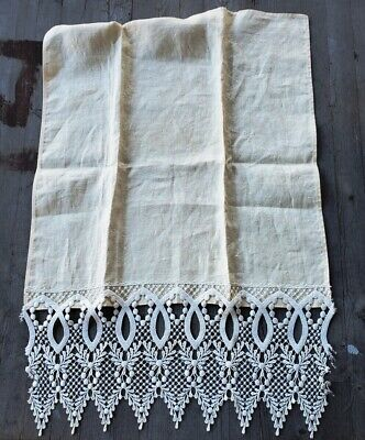Vintage Pale Yellow Cotton Damask Towel with Long Lace Border
