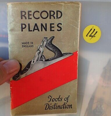 Old booklet on Record brand wood planes collectable tools