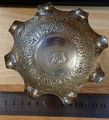 Nice old / antique Indian silver bowl Elephant marked heavily decorated