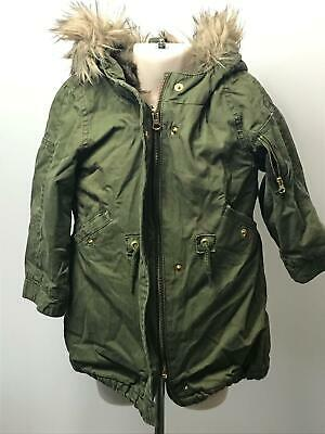 Girls  Baby Gap Khaki Hooded Parka Removable Gilet Coat Jacket Kids Age 3 Years