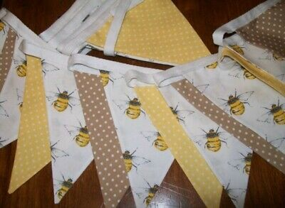6ft / 9ft ~ Bee & Polka Dot Ivory/Yellow Double Sided 100% Cotton Fabric Bunting