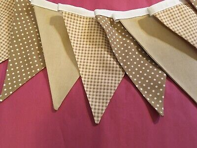 6ft Beige/Brown Polka Dot/Gingham/Plain Double Sided 100% Cotton Fabric Bunting