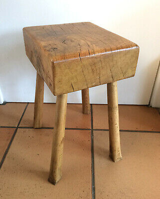 Antique Vintage Reclaimed Oak Butchers Block Stool Industrial Country Kitchen