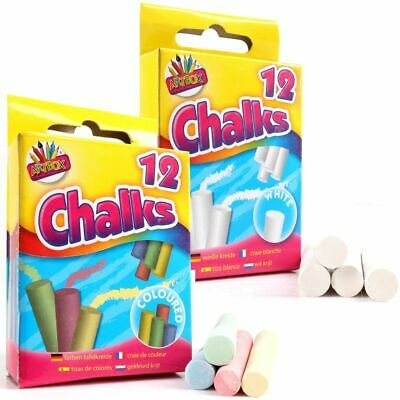 Chalk 24 Sticks 12 White 12 Coloured Blackboard Playground Pub Art Craft Kids