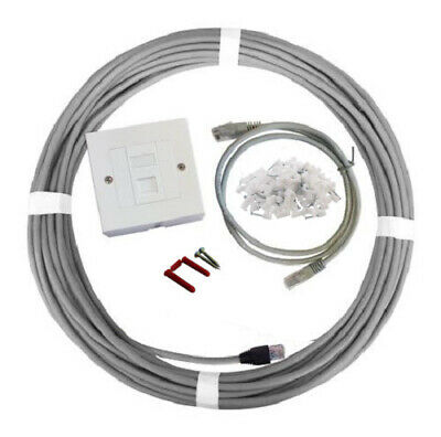 20m Cat6 Home Office Internal Network Cable Ethernet Extension Kit Faceplate