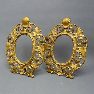 Pair of Ornate Cast Iron Photo Frames ~ Gold Painted ~ NO GLASS ~ Antique