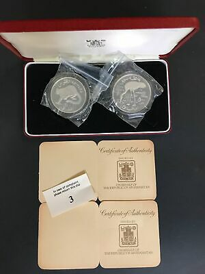 1978 Afghanistan Conservation Silver 2 Coins Proof Set, COA, The Royal Mint   m2