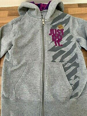 Excellent Girls Grey Nike Just Do It Zipped Hoodie Jacket Age 10-12 Years Medium