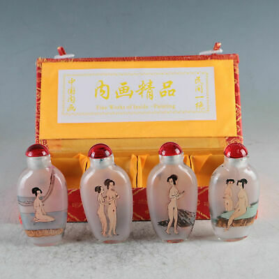 Collection China Exquisite Glass Hand-Painted Beauties Snuff Bottles 4 Pcs