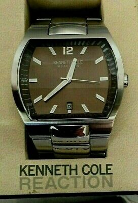Mens Kenneth Cole Reaction Brown Face Date Watch Stainless Steel Quartz Movement