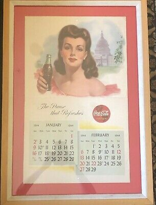 1944 Coca Cola Calendar January / February Framed and Matted